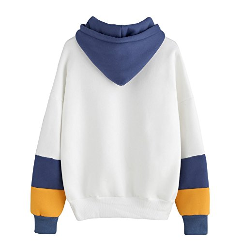 Yalatan Women Fashion Sweatshirt Long Sleeve Print Hoodie Sweatshirt Hooded Casual Pullover Tops Blouse navyblue