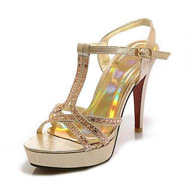 zhENfu Donna Sandali Primavera Estate Autunno scarpe Club sintetico PU party di nozze & abito da sera Stiletto Heel strass black Silver Gold Gold