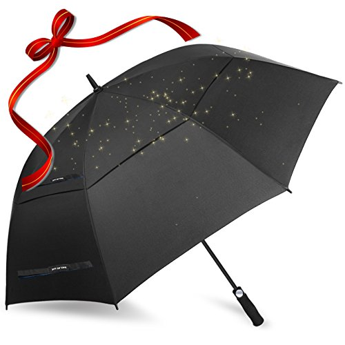 ZOMAKE 157,5 cm de large ouverture automatique Parapluie de golf Extra Large très véritable double auvent ventilé coupe-vent imperméable bâton parapluies