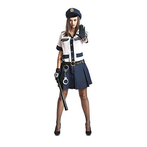 zistin-Kostüm für Damen mit weißer Bluse, blauem Mini-Rock, Polizei-Mütze Größe: 40 / 42, Farbe: weiß-blau, Verkleidung, Outfit für Karneval, Fasching, Halloween, Junggesellinnen-Abschied - Damen Polizistinnen-Kostüm (Polizistin Kostüme Halloween)