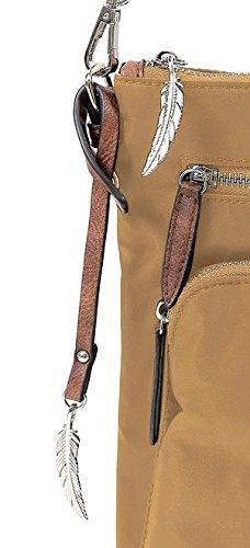 Kleine Umhängetasche mit Fronttasche von Waipuna aus hochwertigem Nylon, Schultertasche mit Schlüsselanhänger, Handtasche mit schönen, braunen PU-Leder Details camel / camel