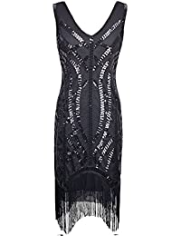 PrettyGuide Women 1920s Vintage Black Sequin Embellished Curve Fringe Gatsby Dress