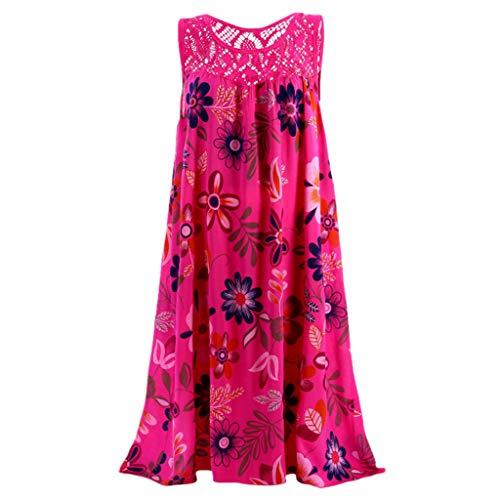 AIni Damen Sommerkleid Mode Lässig Rundhals Kleid Elegant ärmelloses Minikleid Blumendruck Festlich Partykleid - Thermo Nachthemd Langarm