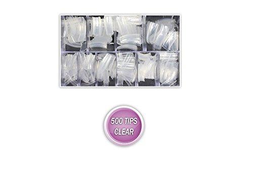 Vetrineinrete® 500 tips trasparenti per ricostruzione unghie naturali finte nail art fornite in un comodo box e48