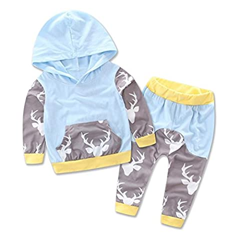 Baby Mäntel,Switchali 1 Set Neugeborenen Säugling Rotwild Druck Kapuzenpulli Tops + Pants Outfits Kleider (18M, Blau)