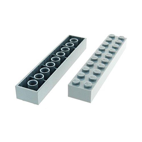 2 x Lego System Basic Bau Stein neu-hell grau 2 x 10...