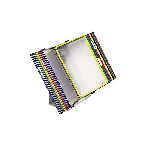 Tischständer A4 grau aus Metall mit 40 Sichttafeln A4 weiß