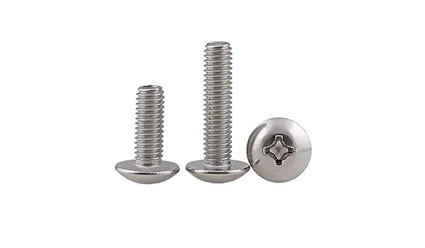 3mm 50Pcs M2-M5 en acier inoxydable /à t/ête plate machine /à vis cruciforme champignon Vis /à t/ête M2