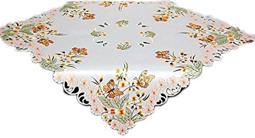Tischdecken FRÜHLING Espamira TISCHDECKE Mitteldecke 85x85 cm Sekt Schmetterlinge Blüte Orange Gestickt Frühlingsdecke (85x85 cm) (Orange-blumen-tischdecke)