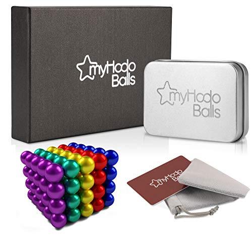 myHodo Magnetkugeln Stresskiller Premium Set mit Gratis Extras - Neodym Magnete extra stark 5mm 100 Stück - Anti Stress Geschenkidee Technik Gadgets - Kühlschrank Magnete für Magnettafel Whiteboard