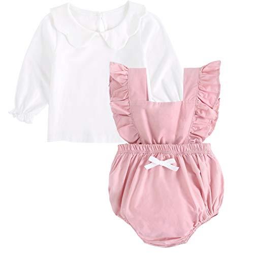 Sanlutoz Neugeborene Baby-Bodysuit + Weiße Tops Sets Baumwolle Kleinkind Outfits 2pcs (2-3 Jahre / 100cm, 7047-PK-9015-L) (Halloween-kostüme 10 Lustige Männliche Top)
