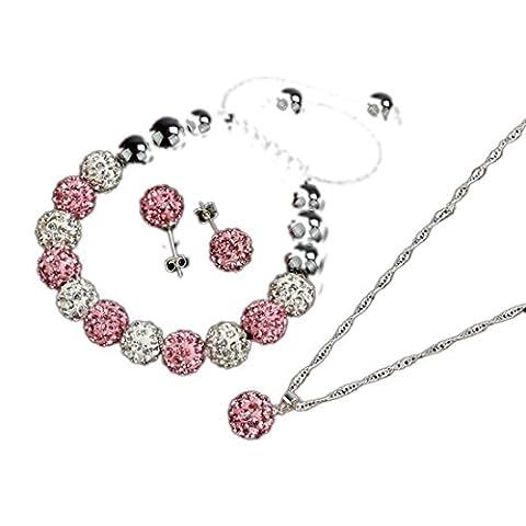 Atdoshop(TM) Crystal Ball Jewelry Shamballa Bracelet Earrings Necklace Set New (Pink)