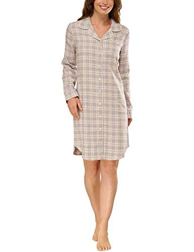 Schiesser Damen Nachthemd Sleepsh.1/1, 95cm, Flanell, Gr. 44, Beige (beige-mel. 406)