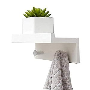 Margueras – 1 estante toallero perchero de pared (bambú con estante y ganchos), blanco, 2K