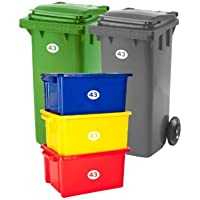 SET OF 5 Wheelie Bin Box Crate Number and Letter Stickers
