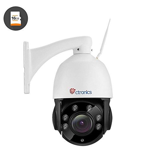 (PTZ) Ctronics drahtlose PTZ WiFi IP Dome-Kamera mit 1080p HD-Auflösung, optischem 4-fach Zoomobjektiv, 50m IR-Nachtsicht für Indoor- & Outdooranwendung mit vorinstallierter 16GB SD-Karte CTIPC-260CWS1080PS (Ipad 2 16 Gb Wifi Verwendet)