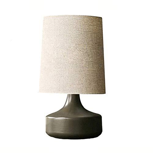 YZPTD Lámpara de mesa de cerámica americana dormitorio simple lámpara de mesa moderna personalidad cálida retro luz cálida (Color : NEGRO)