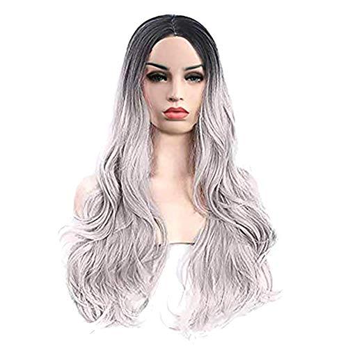Yimosecoxiang Perruque pour femme en fibre douce dégradée de couleur longue bouclée haute température Décoration de cheveux – Argenté