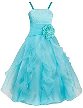 YIZYIF Vestidos de Princesa Niñas de Flor sin Mangas Organza Tutú Vestido Largo Fiesta Cumpleaños Boda Ceremonia
