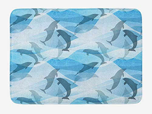 CHKWYN Sea Animals Bath Mat, Dolphin Fish Pattern Silhouette Under The Sea Waves in Contemporary Design, Plush Bathroom Decor Mat with Non Slip Backing, 23.6 W X 15.7 W Inches, Blue and Grey - Oriental Fish Bowl