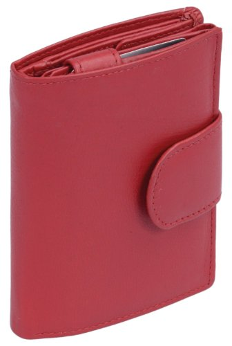LEAS Damenbörse und Herrenbörse mit Außenriegel im Hochformat Echt-Leder, rot Special-Edition, Rot, 12,5x9cm (Visa-geburtstag-geschenk-karte)