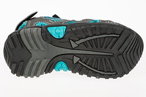 GIBRA® Enfants Trekking Sandales avec fermeture velcro Gris/Turquoise Taille 25–36 Gris - Grau/Türkis