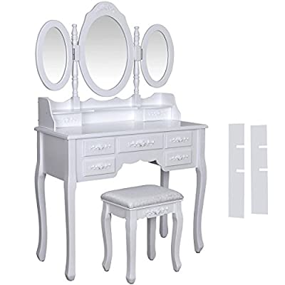 Dressing table, stool and mirror, 7 drawers, 3 mirrors