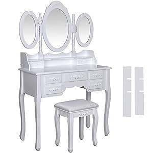 songmics wei luxuri s gross schminktisch mit 3 spiegel und hocker 7 schubladen 145 x. Black Bedroom Furniture Sets. Home Design Ideas