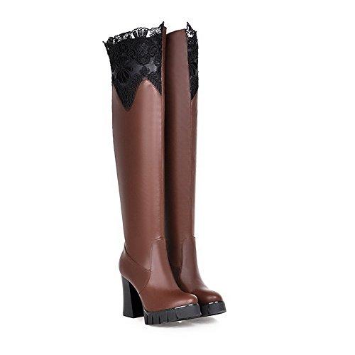 AllhqFashion Damen Weiches Material Ziehen Auf Hoher Absatz Überknie Hohe Stiefel Stiefel Braun