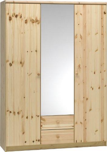 Steens Axel Kleiderschrank, 3 Türen und 2 Schubladen, 141 x 200 x 50 cm (B/H/T), teilmassiv, natur lackiert (Tür Kleiderschrank 2)