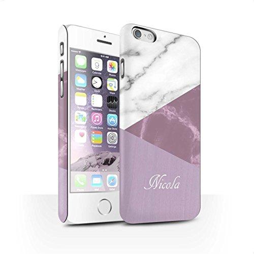 Personalisiert Individuell Holz/Marmor Matte Hülle für Apple iPhone X/10 / Granit/Hölzern Design / Initiale/Name/Text Snap-On Schutzhülle/Case/Etui Rosa Geometrisch