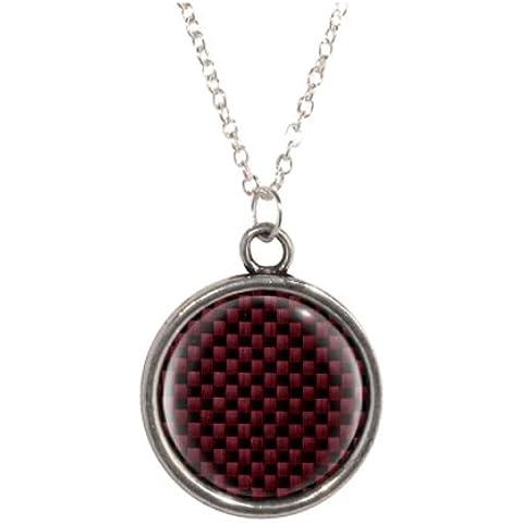 In fibra di carbonio, colore: rosso e collana con ciondolo placcata in argento