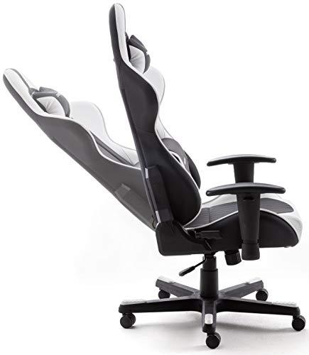 DX Racer6 Gaming Stuhl, Schreibtischstuhl, Bürostuhl, Chefsessel mit Armlehnen, Gaming chair, Gestell Kunststoff, 78 x 52 x 124-134 cm, Kunstleder PU schwarz / weiß - 4