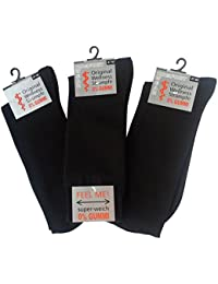 Wowerat 6 Paar Gesundheitssocken Herren ohne Gummi XXL, Größe 39-58, Socken ohne Bund, für Diabetiker geeignet, extra breiter Komfortbund, Übergrößen