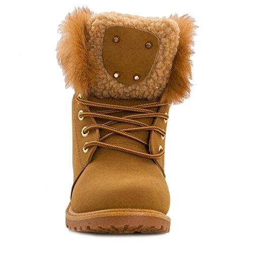 Toocool - Stivali donna scarponcini scarpe stringati pelliccia anfibi caldi nuovi W8120 Camel