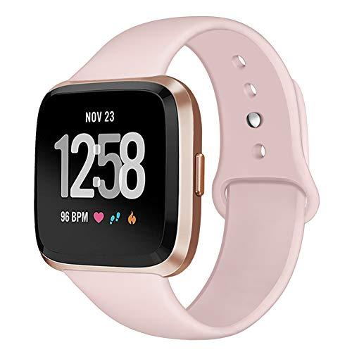 Kmasic Sport Armband Kompatibel Fit bit Versa, Soft Silikon Ersatz Armband für Fit bit Versa Smart Fitness Uhr, Klein, Sand Pink