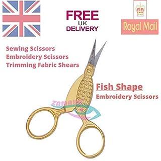 Zamaha-UK Fisch-Nähschere, Schneiderstichschere, scharfe Spitzen, Nähschere, Schneiderschere, Kreuzstichschere, Karbonstahl, Schneiderschere