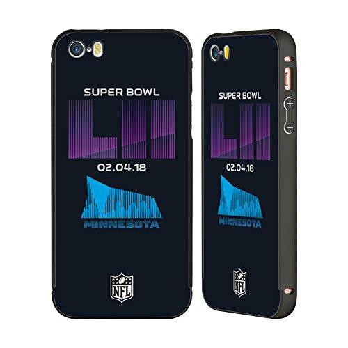 Ufficiale NFL Modelle 2 2018 Super Bowl LII Nero Cover Contorno con Bumper in Alluminio per Apple iPhone 5 / 5s / SE US Stadio Banca 3