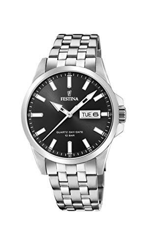 Festina Herren Analog Quarz Uhr mit Edelstahl Armband F20357/4 - Uhren Festina