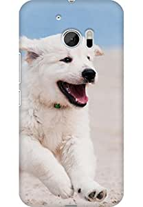 AMEZ designer printed 3d premium high quality back case cover for HTC One M10 (Dog puppy white animal pet beach sand sea)