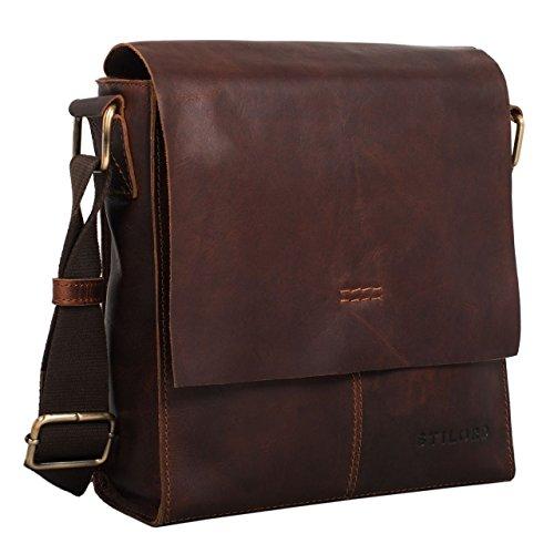 STILORD 'Malte' Bolso Mensajero pequeño para Hombres de Piel marrón Vintage Bolso Bandolera 9.7 Pulgadas Tablet iPad Bolso de Mano A5 de Cuero auténtico de Vaca, Color:Mocca - marrón