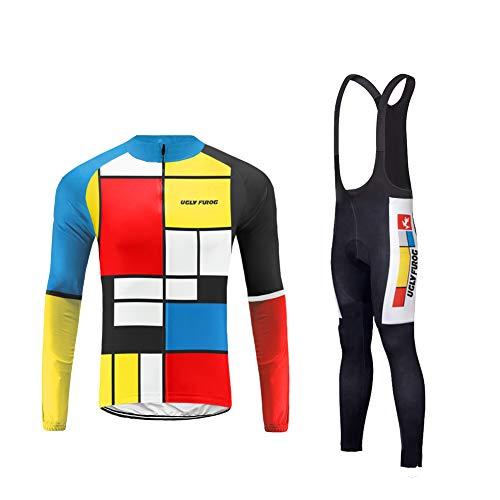 Uglyfrog Farbabstimmung der Flagge Bike Wear Herren Fahrradbekleidung Set Radtrikot Langarm Winddicht Herren Thermische Fleece mit 3D Polster Hosen