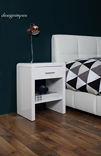 Design Nachttisch Boxspringbett Nachtkommode SN-1 Weiß Hochglanz