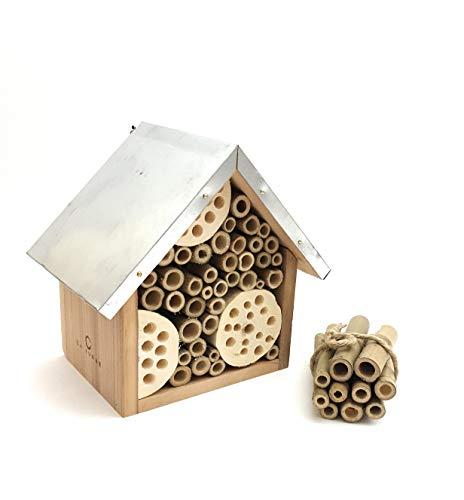 LA JONAE, casa casetta per abejas per Piccoli Insetti Realizzata in Legno Naturale con Tetto in Metallo, Completa di Tubi in...