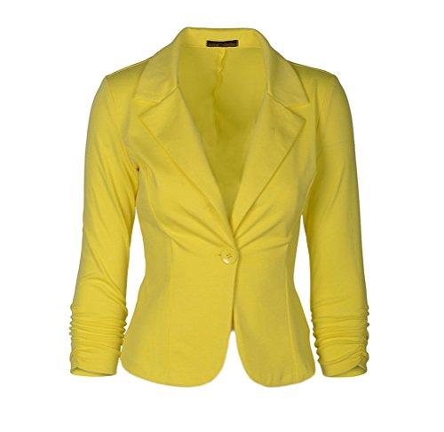 Donna Tailleur Elegante Blazer Pulsante Manica Lunga Casual Ufficio Giubbotto Slim Puro Colore Autunno Bolero Semplice Taglie Forti Gialli