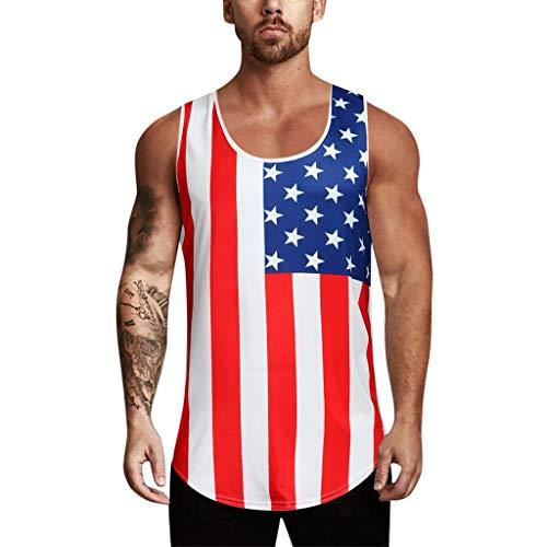 3611e7fca HHyyq Männer Kapuzeie Weste Independence Day amerikanische Flagge gedruckt  Sport Tank Fitness Gym ärmelVerlierens Muskel-