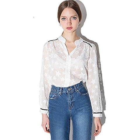 Fashion Star Stars Print Modello High Collo Alto Trasparente Blusa Camicia Top Bianco - Stars Il Partito Collare
