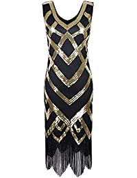 PrettyGuide Women 1920's Vintage Beads Sequin Crisscross Fringe Hem Flapper Dress