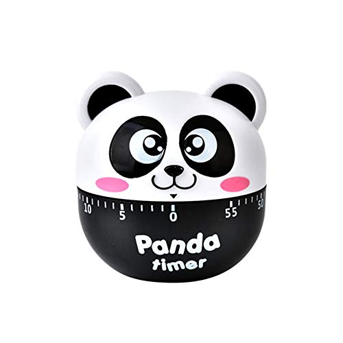 Mechanischer Timer für die Küche, 60 Minuten drehbar, Wecker, Count-Down-Timer, Kochring, Wecker, Stoppuhr, Küchenwerkzeug Größe S Schwarz Panda