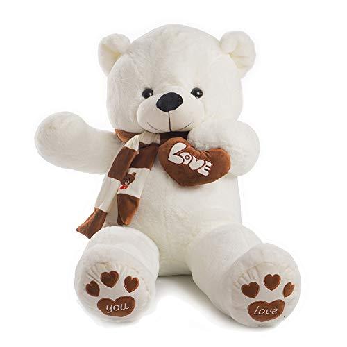 YunNasi Riesen Teddybär Kuscheltier XXXL 140cm mit dem Schal Plüschtier Weiche Waschbar Größe Teddy für Geburtstag Hochzeit Weihnachten usw Weiß